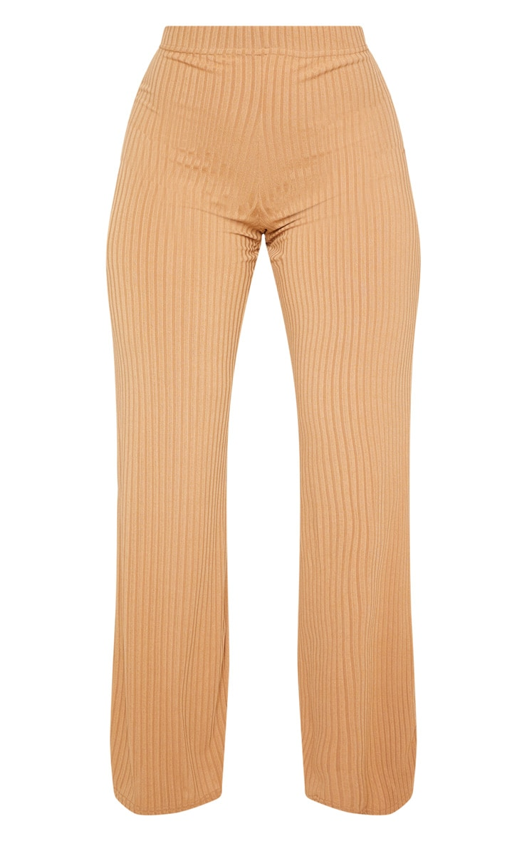 Shape Camel Ribbed Wide Leg Trouser 3