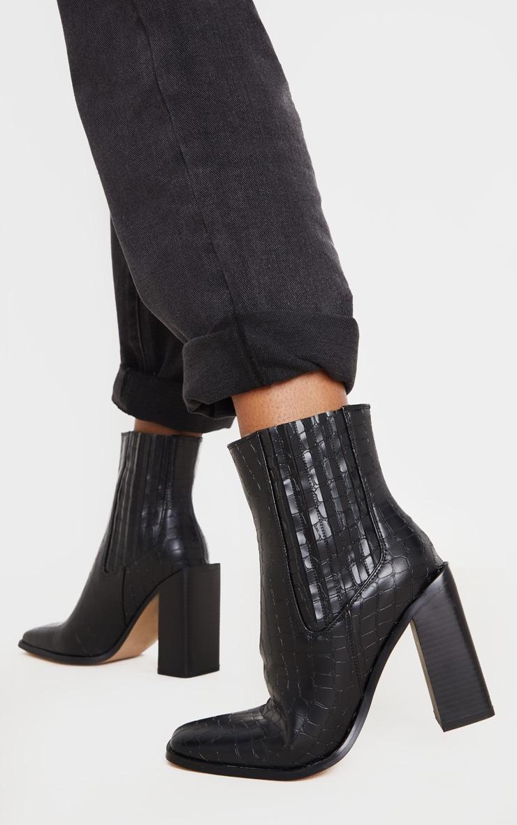 Black Snake Block Heel Square Toe Western Boot 1