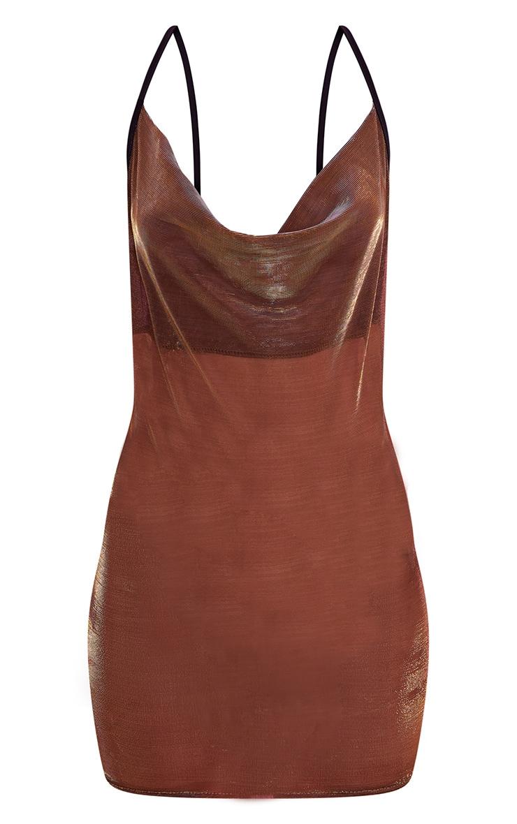 Gold Sheer Metallic Cowl Neck Bodcycon Dress 4