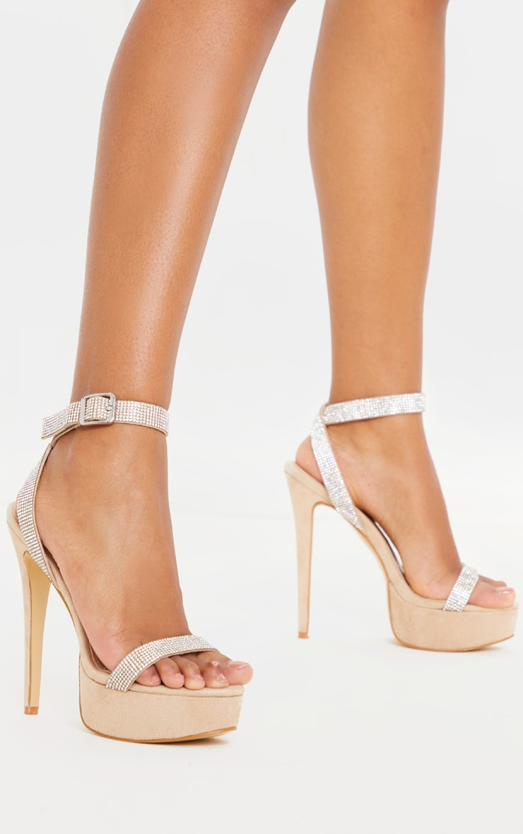 Nude Diamante Platform Strappy Sandal 1