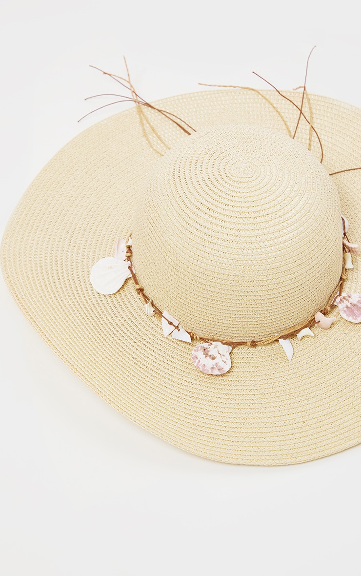 Cream Straw And Shell Detail Sun Hat 2