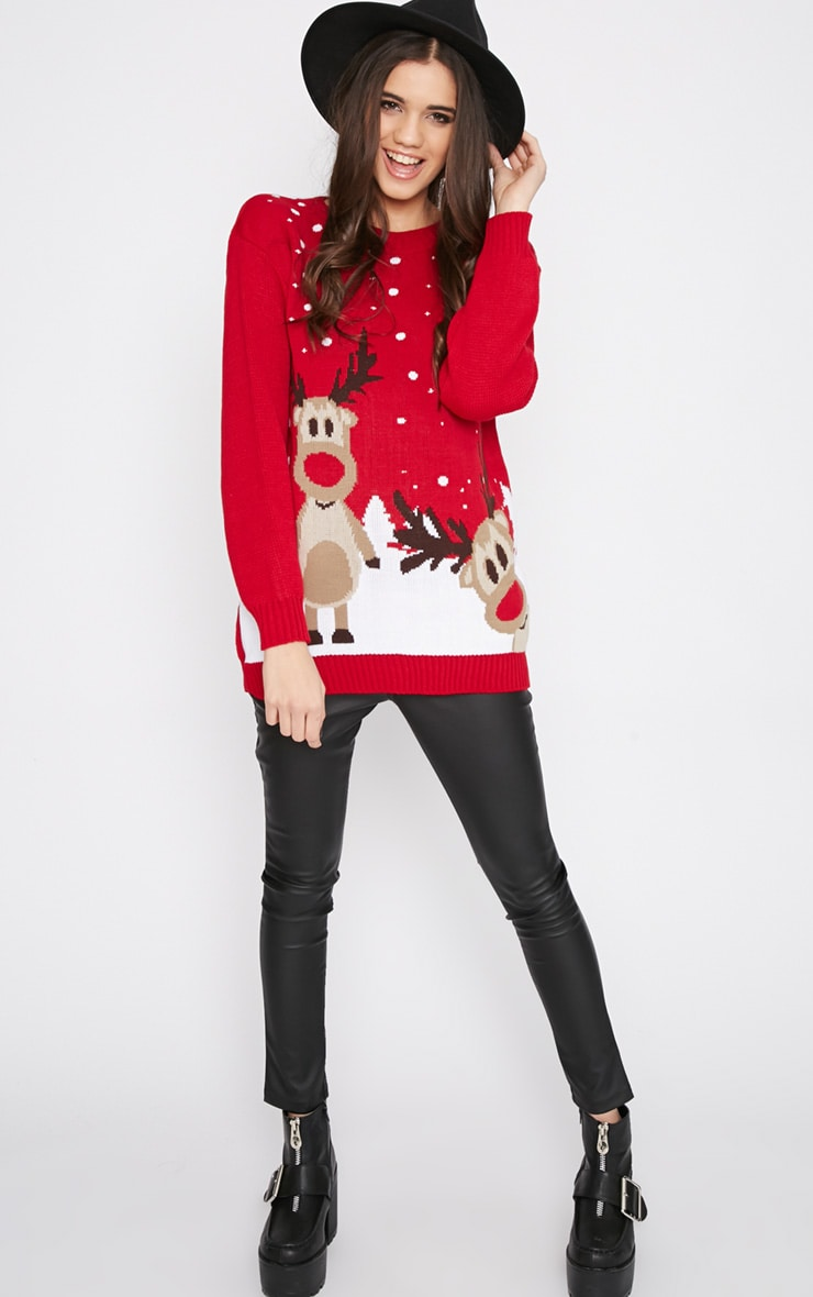 Tarah Red Reindeer Snow Christmas Sweater 3