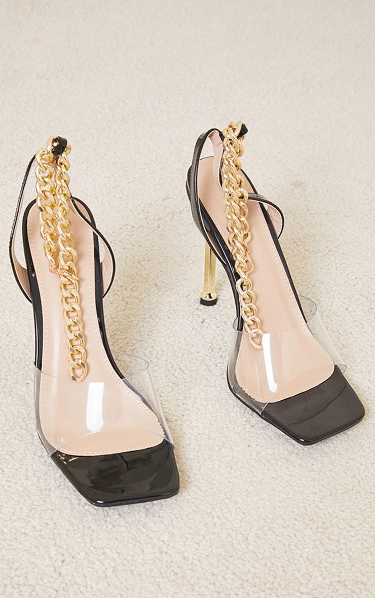 Black Clear Strap PU Chain Strap Metal High Heels 3