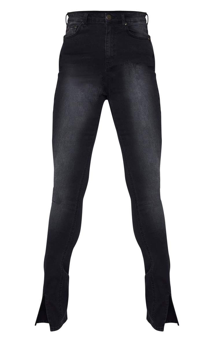 Tall Black Split Front Skinny Jeans 3