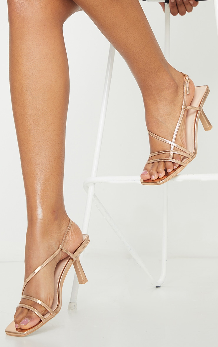 Rose Gold Low Heel Strappy Sandals 1