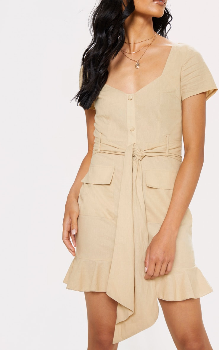 Stone Button Through Frill Shift Dress 5