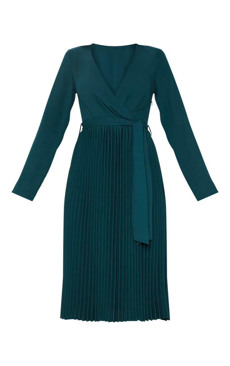Emerald Green Long Sleeve Pleated Midi Dress 3