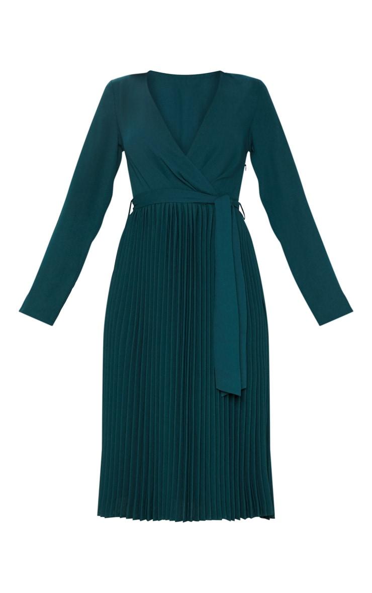 Emerald Green Long Sleeve Pleated Midi Dress 4