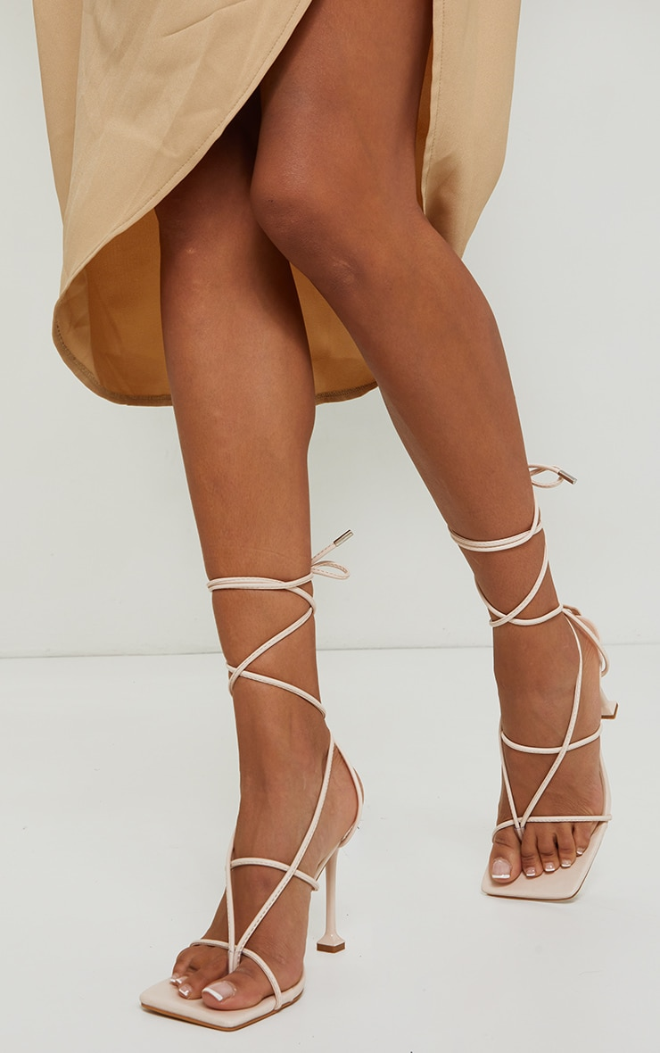 Beige Square Toe Strappy Lace Up Toe Thong High Heels Sandals 2