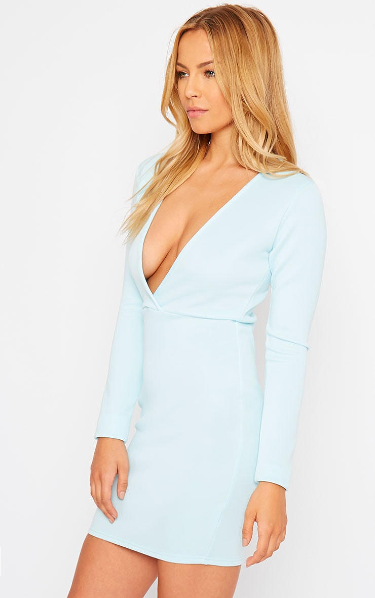 Cici Powder Blue Scuba Plunge Neck Dress 4