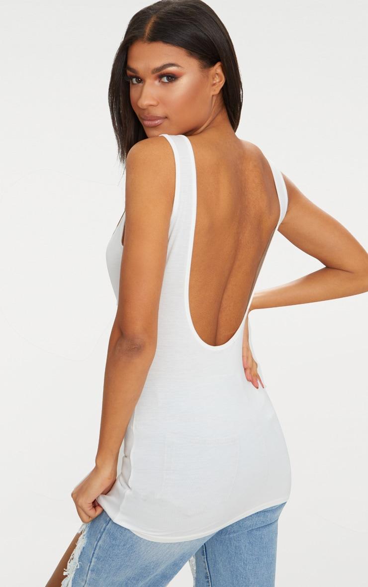 Basic Cream Jersey Scoop Low Back Longline Vest 1