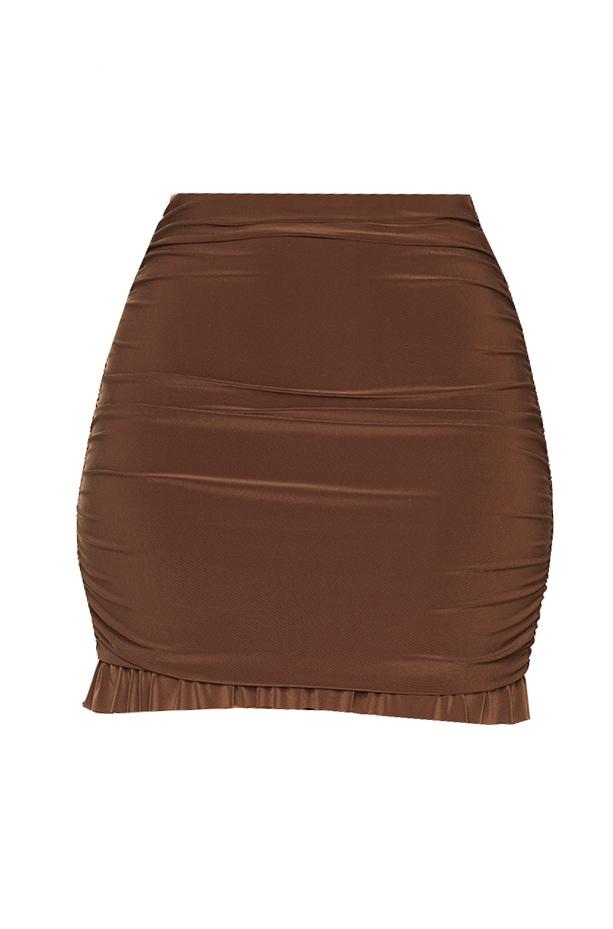 Chocolate Brown Slinky Ruched Side Frill Panel Hem Mini Skirt 6