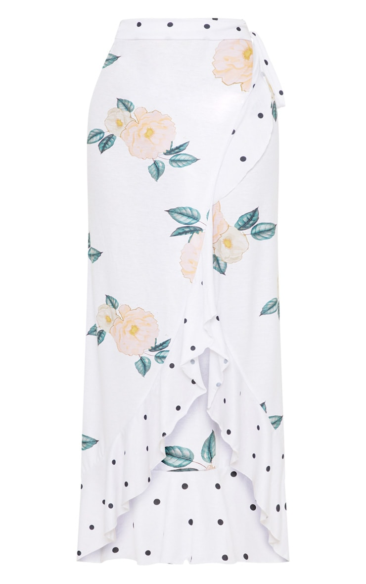 White Floral Printed Tie Front Frill Midaxi Skirt 3