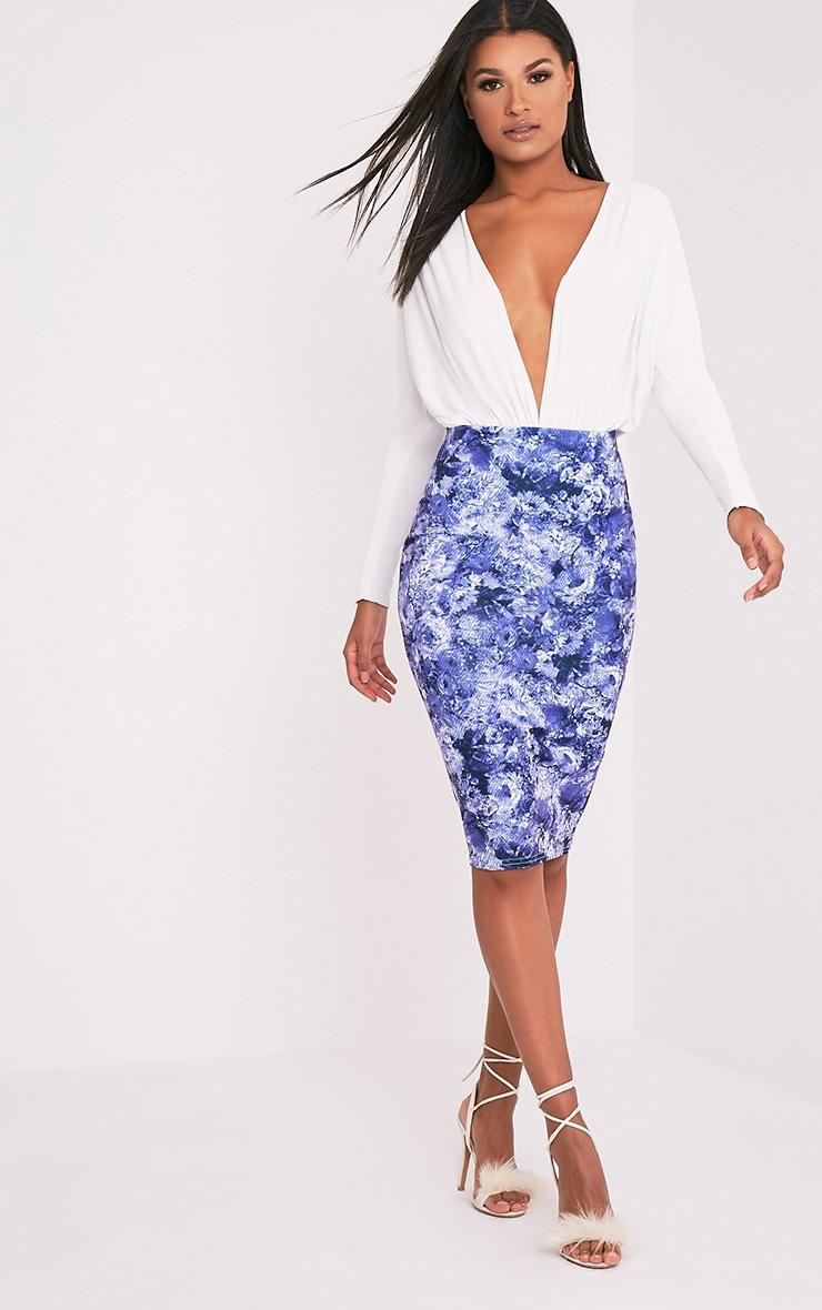 Tula Blue Oriental Midi Skirt 1