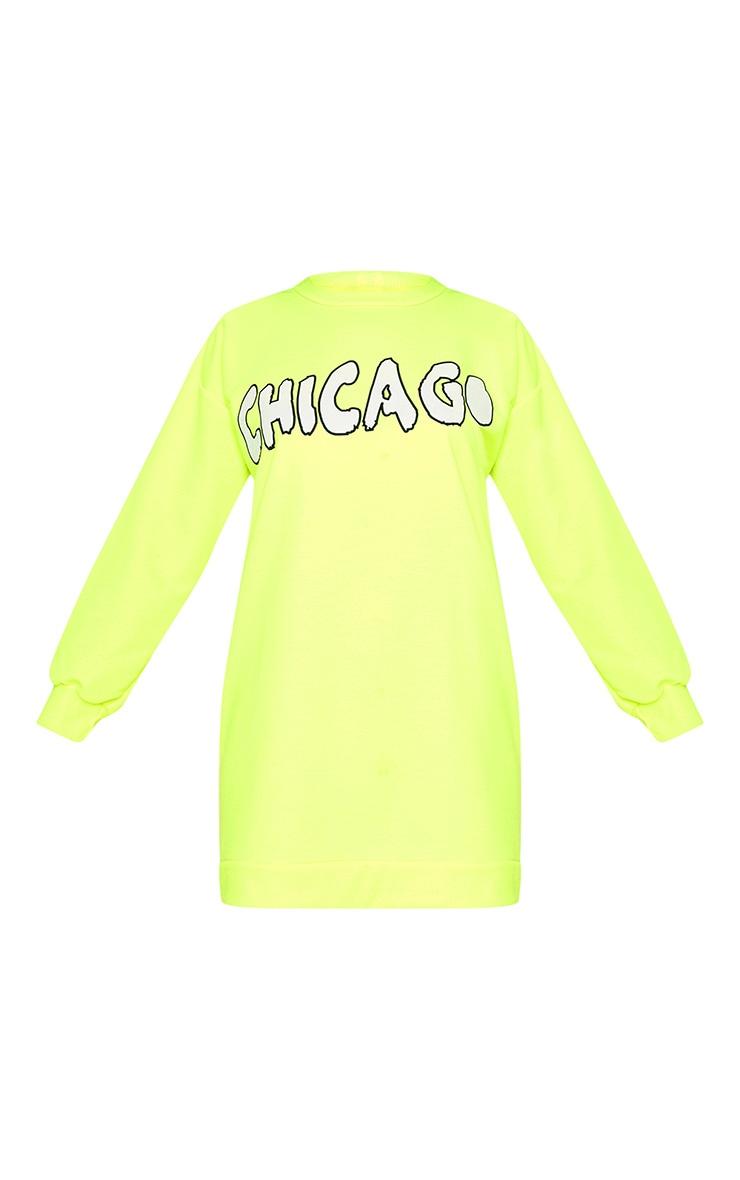 Neon Yellow Oversized Chicago Slogan Jumper Dress 3