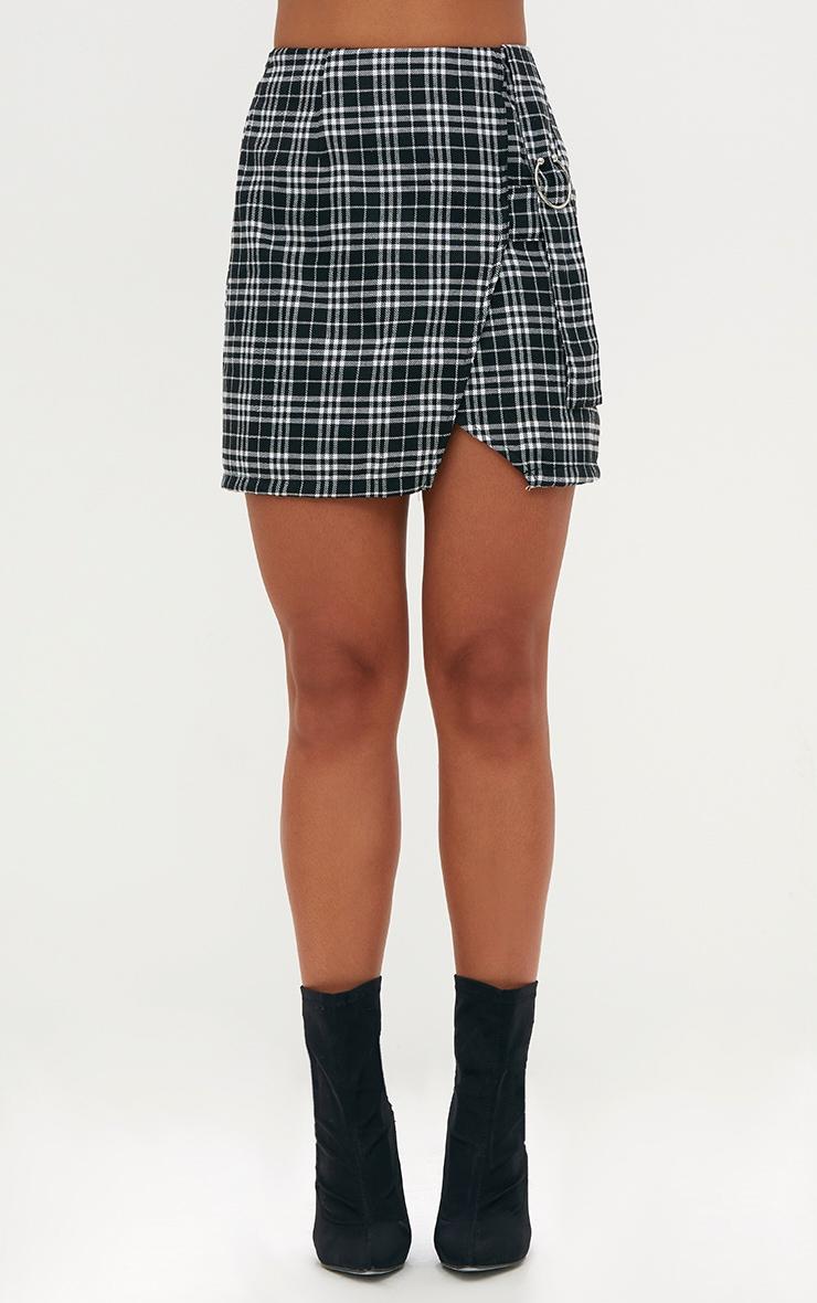 Black Check Ring Detail Mini Skirt 2