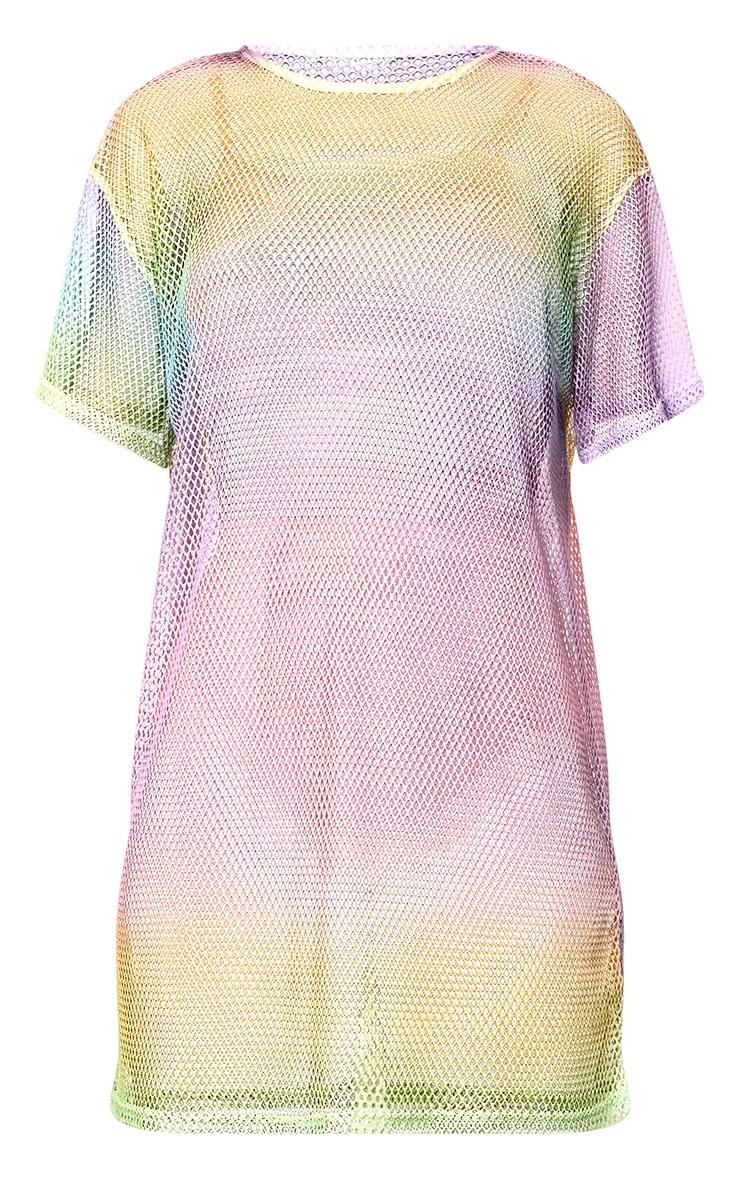 Multi Fishnet Rainbow Print T Shirt Dress 3