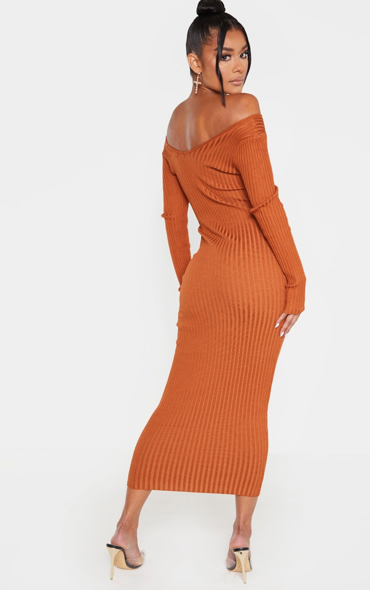 Rust Off Shoulder Rib Knitted Midaxi Dress 2