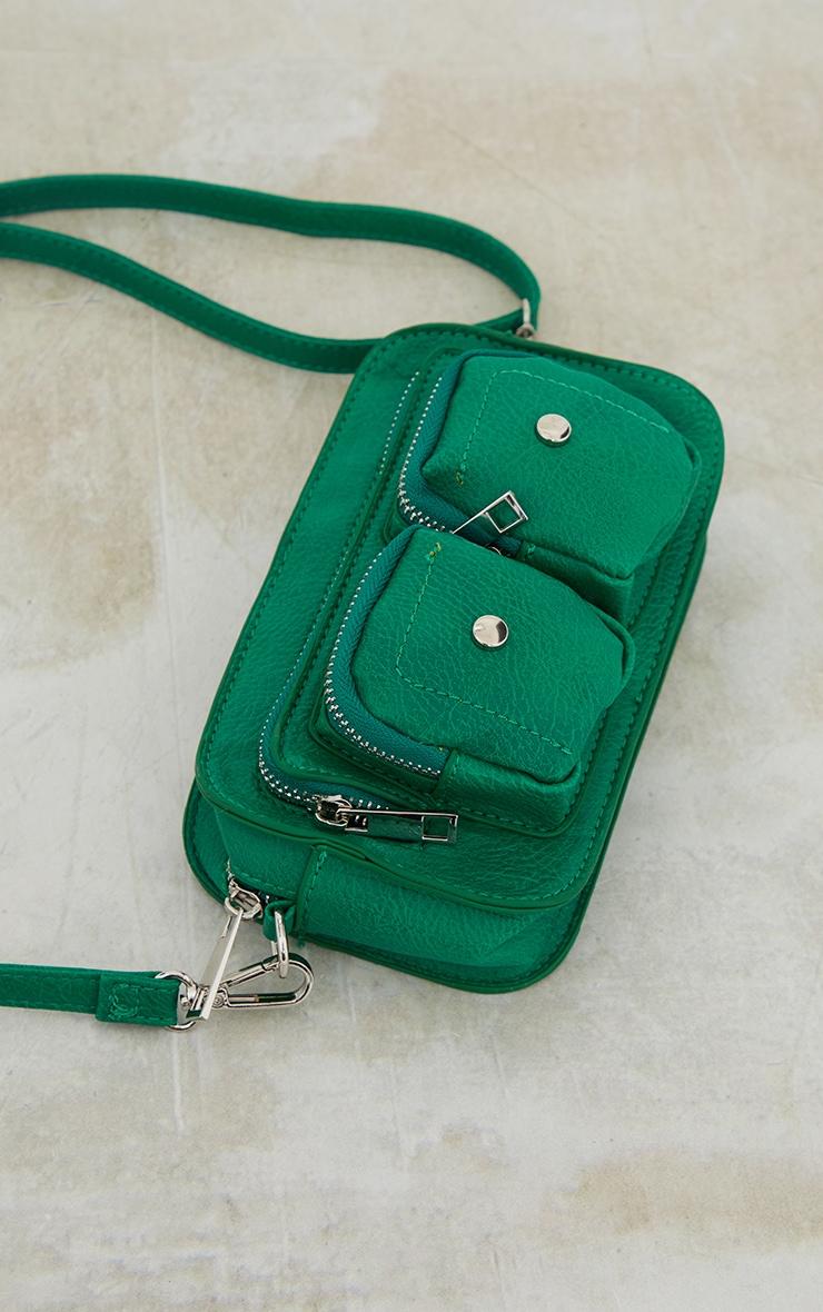 Green Stud Detail PU Mini Cross Body Bag image 3