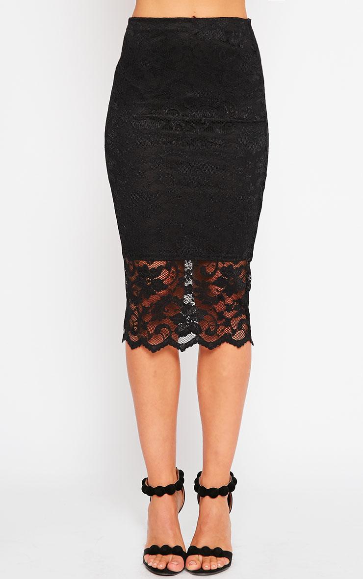 Corinna Black Lace Midi Skirt 2