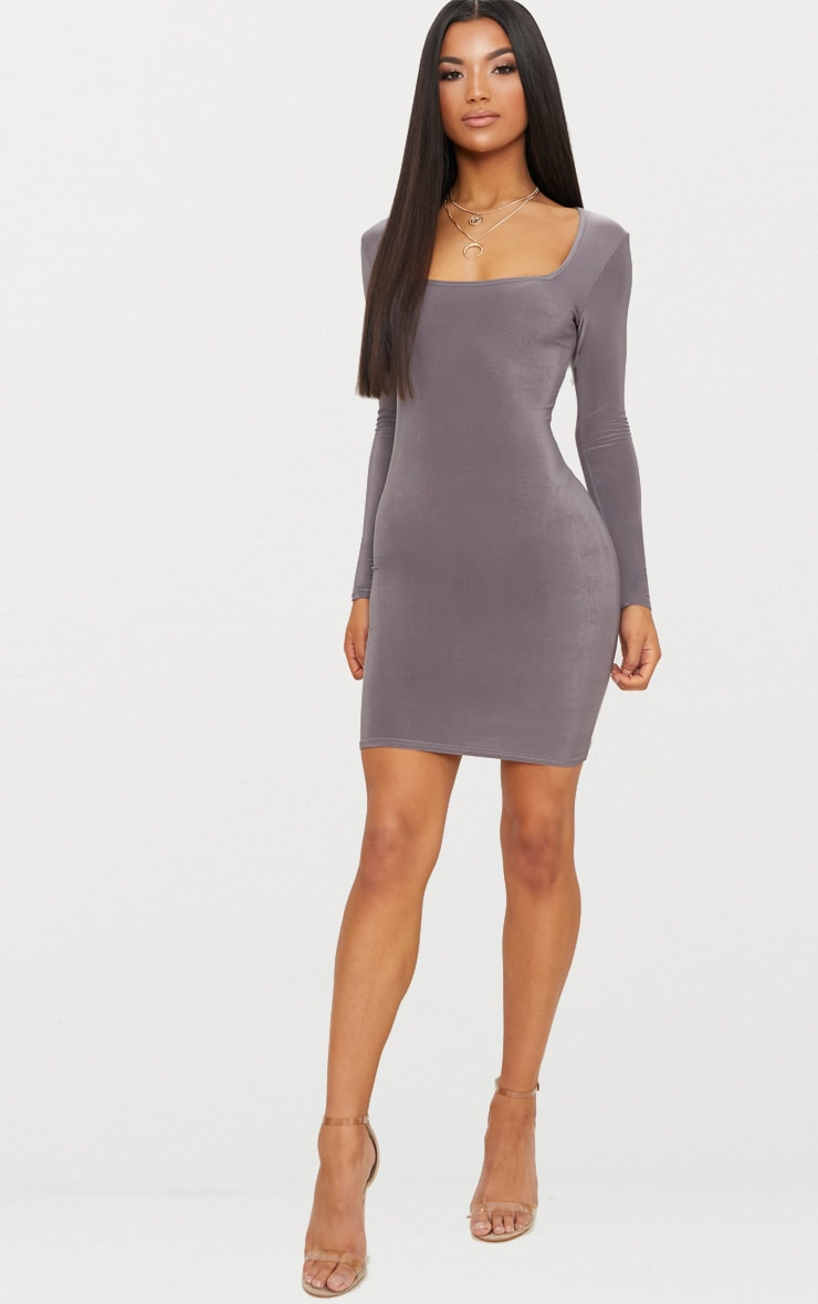 Charcoal Grey Second Skin Slinky Square Neck Bodycon Dress 1
