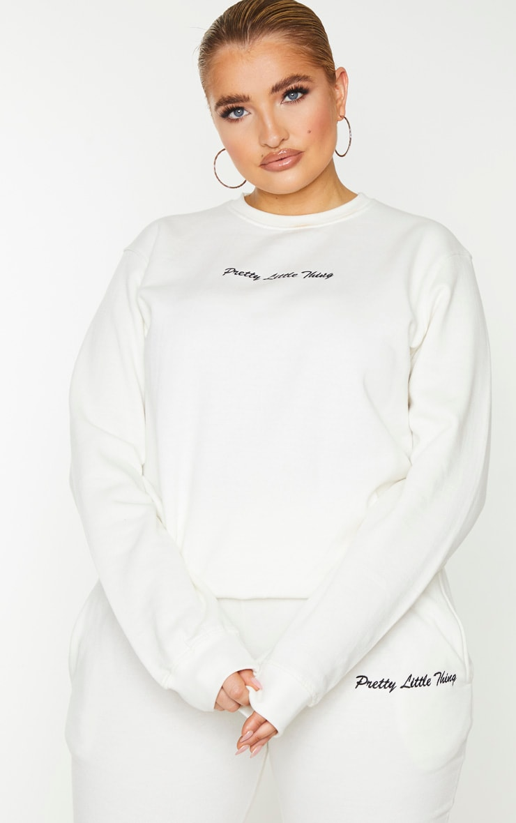 PRETTYLITTLETHING Plus Cream Embroidered Sweater 1