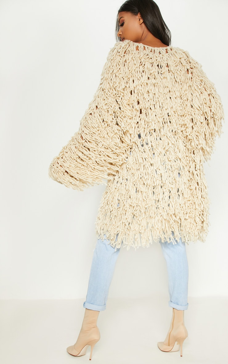 Stone Shaggy Knit Long line Cardigan 2