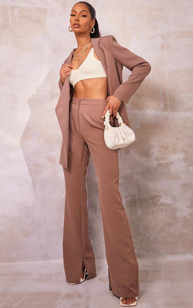 Mocha Split Hem Wide Leg Suit Trousers 1