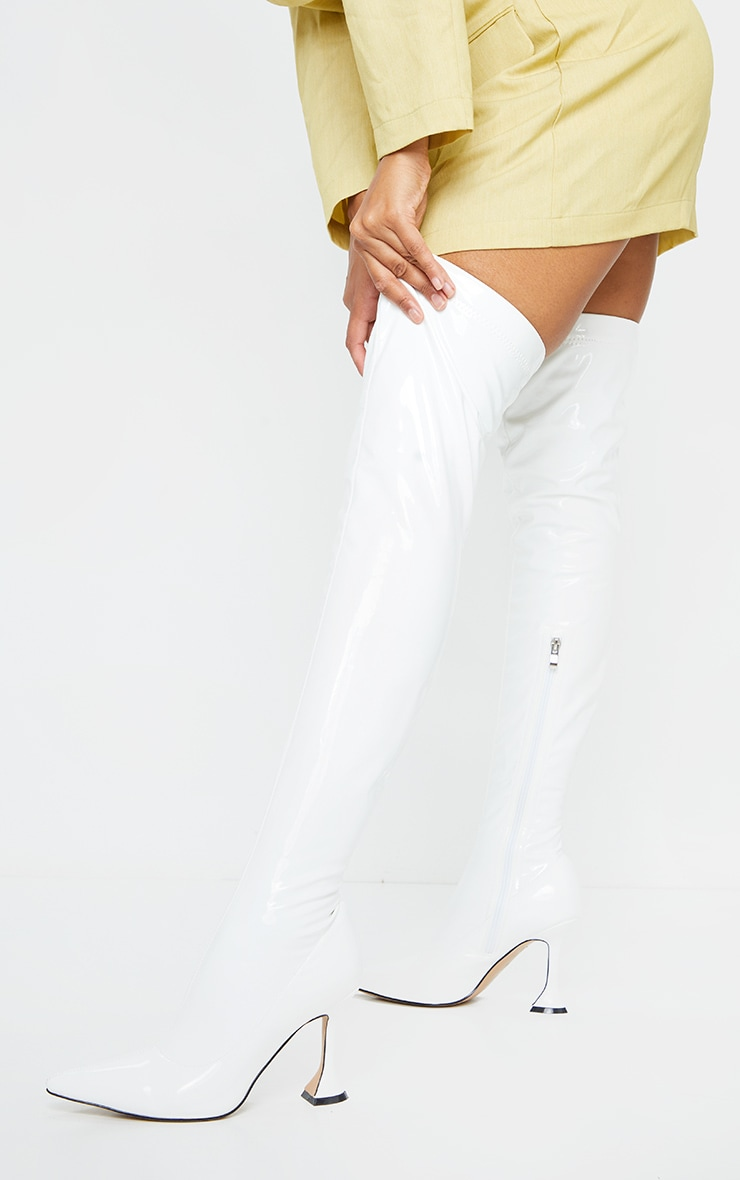 White Over The Knee Cake Stand Boots 1
