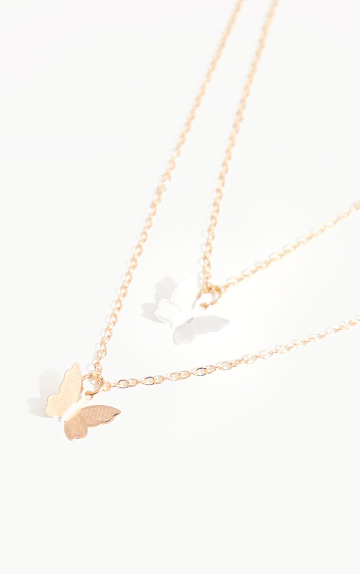 Gold Double Butterfly Chain Necklace 4