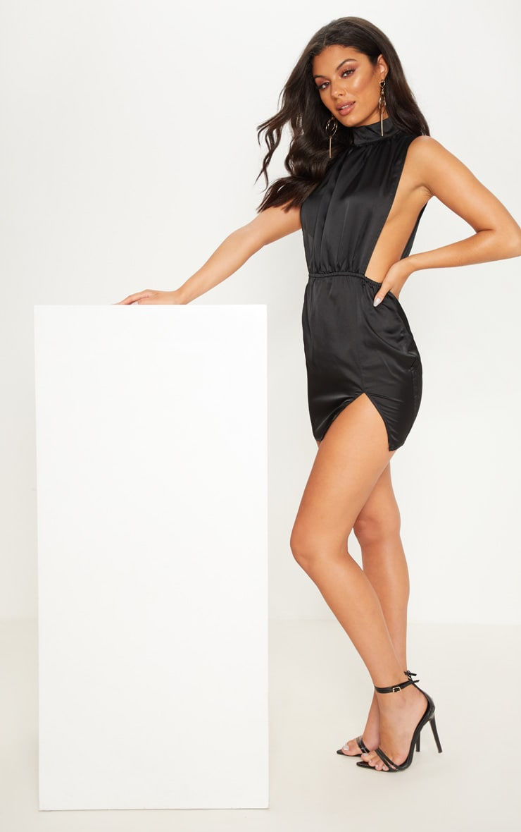 Black Satin High Neck Side Boob Bodycon Dress 4