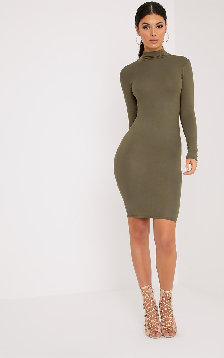 Basic Khaki Jersey Roll Neck Midi Dress 4
