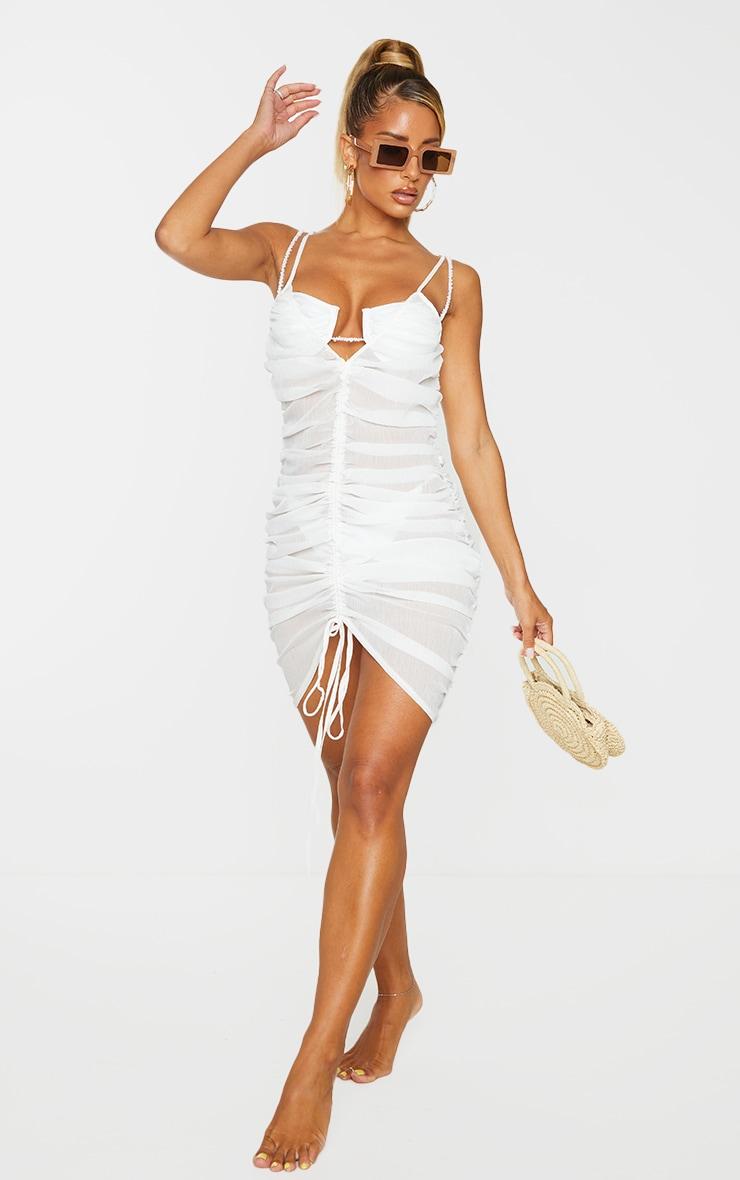 White Ruched Chiffon Beach Dress
