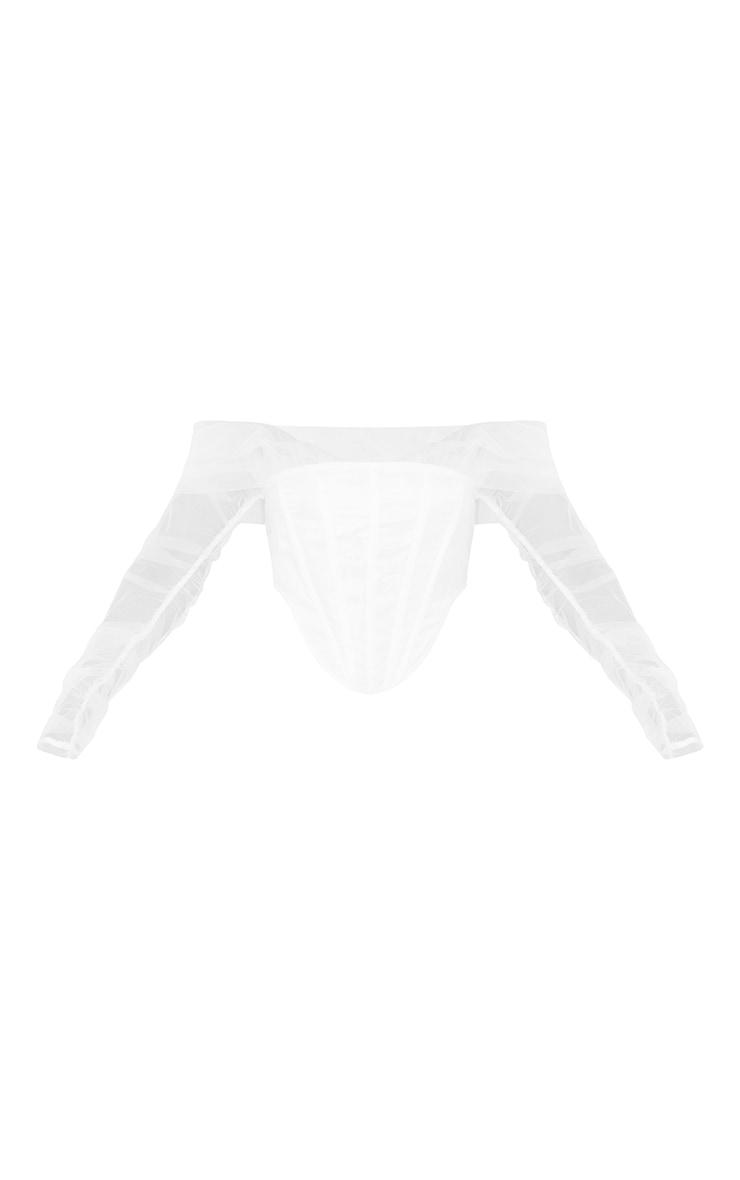White Sheer Organza Draped Corset 5