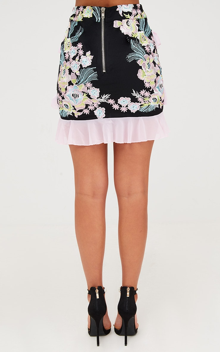 Premium Black Embroidered Ruffle Detail Mini Skirt 5