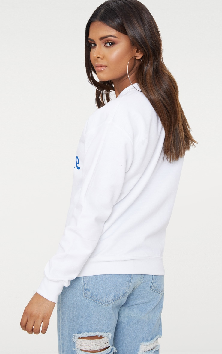 Petite White Paris Slogan Sweater 2