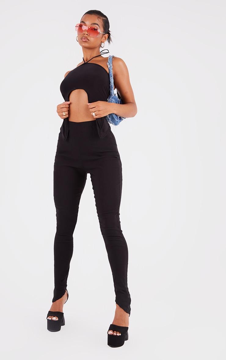 Black Bengaline Asymmetric Hem Leggings 1