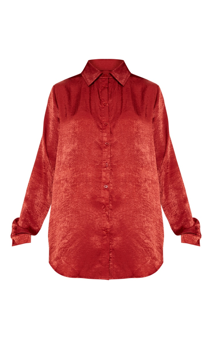 Rust Oversized Satin Shirt 4