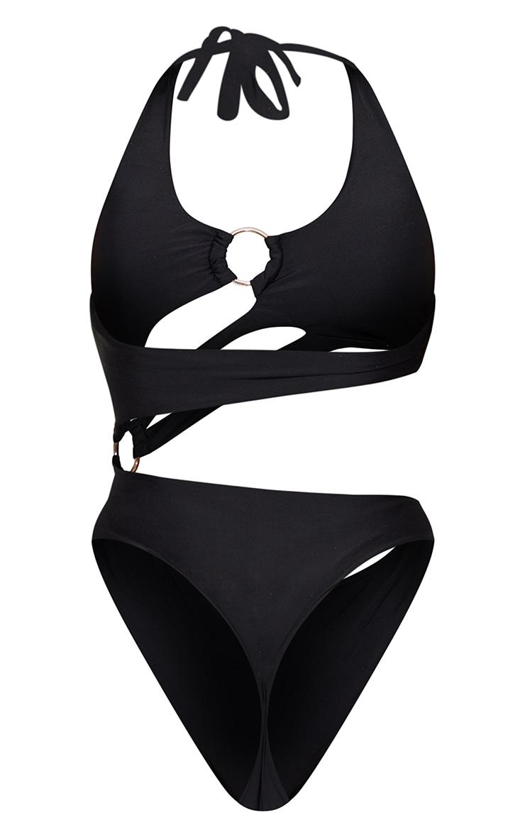 Black Cut Out Shoulder Ring Swimsuit 6