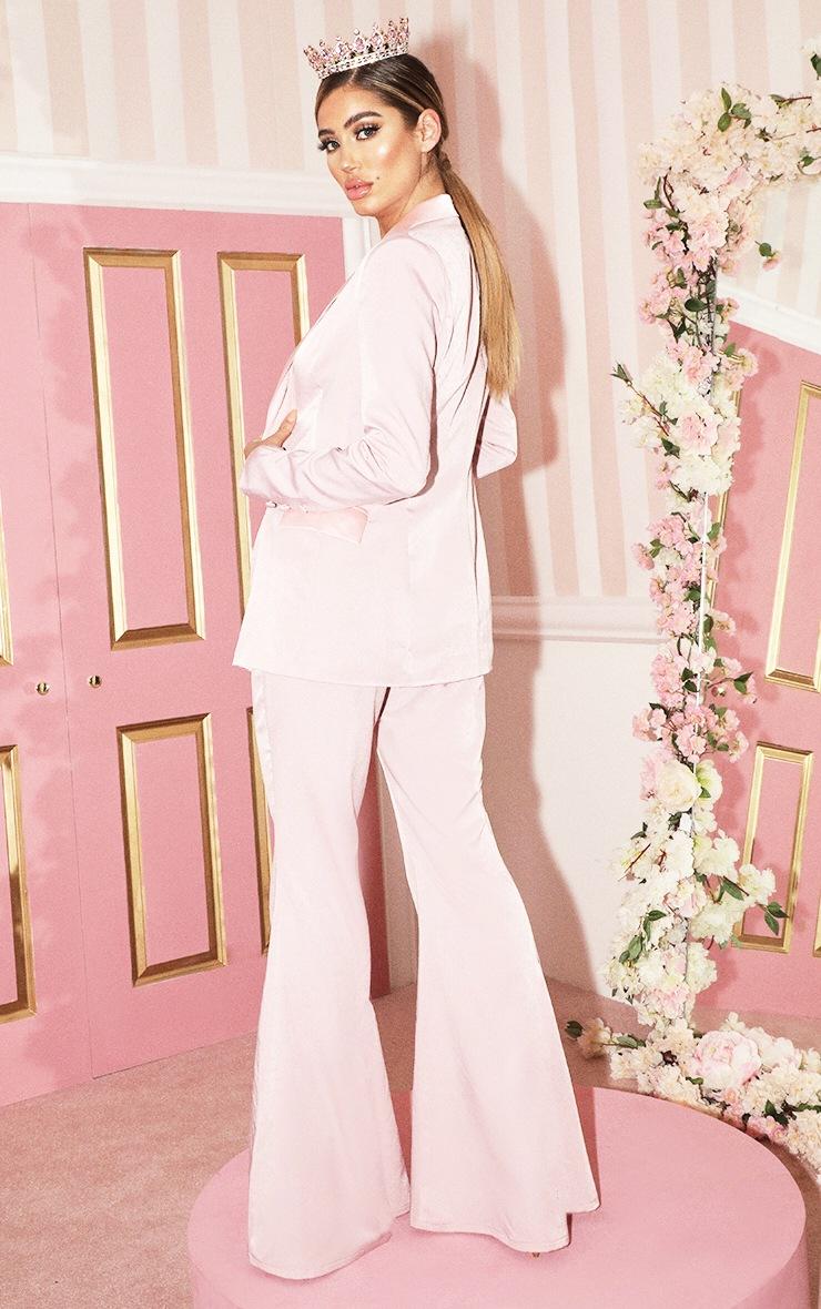 Light Pink Longline Satin Mix Blazer 2