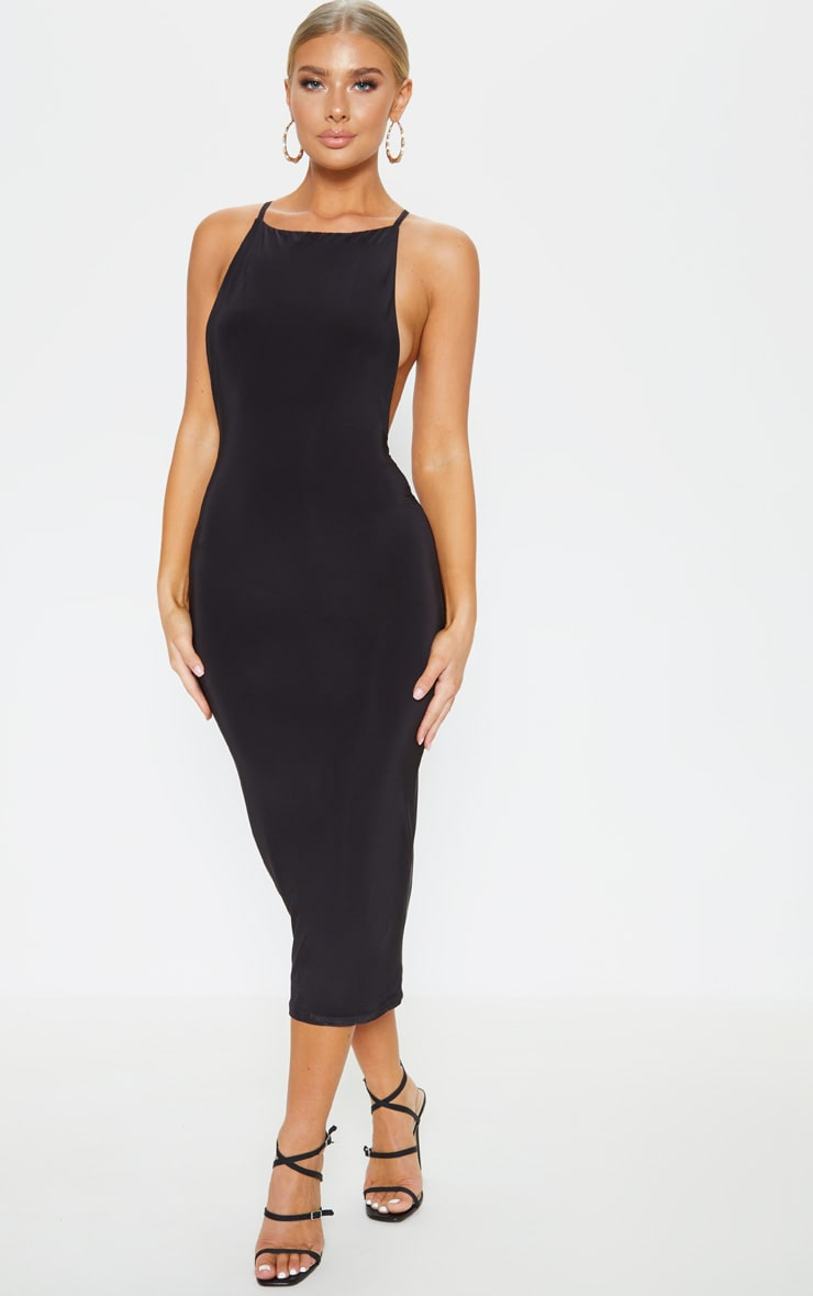 Black Strappy Slinky Cross Back Midi Dress 2