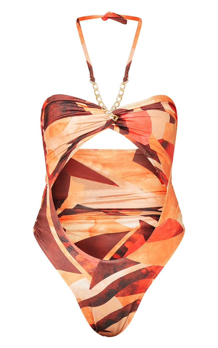 Orange Abstract Print Bandeau Chain Cut Out Swimsuit 7