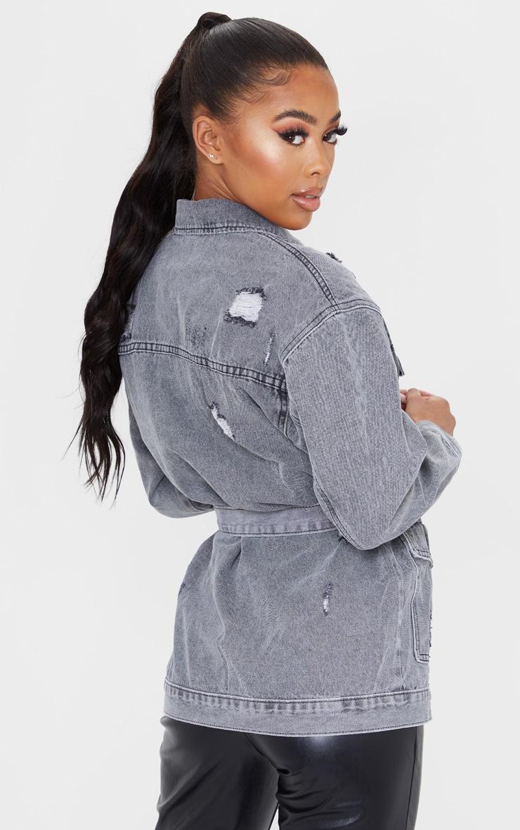 Veste en jean gris délavé style cargo à taille nouée et détail poches 2