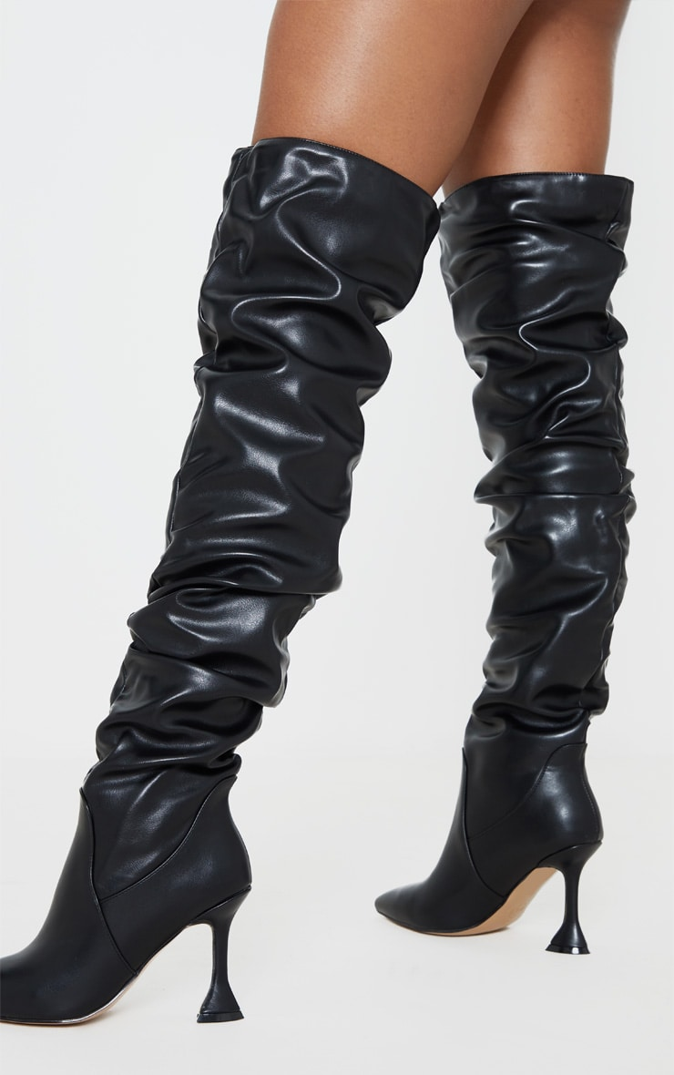Black Flare Heel Slouch Thigh High Boot 2