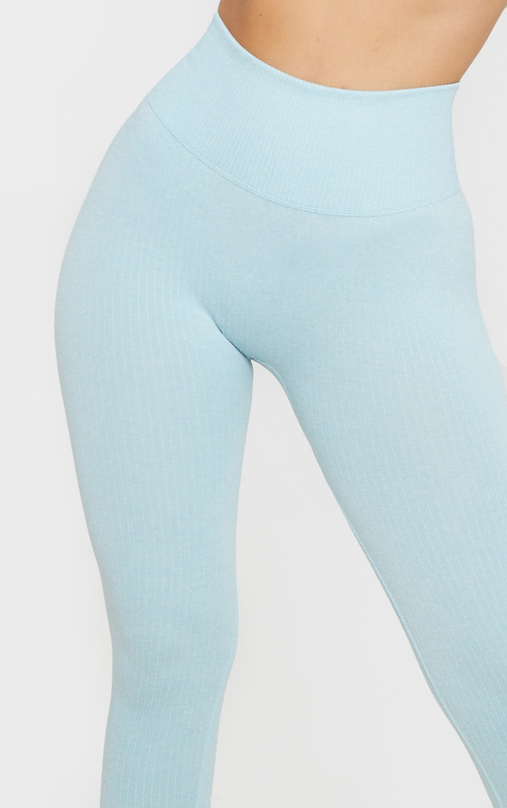 Blue Ribbed Sports Legging 5
