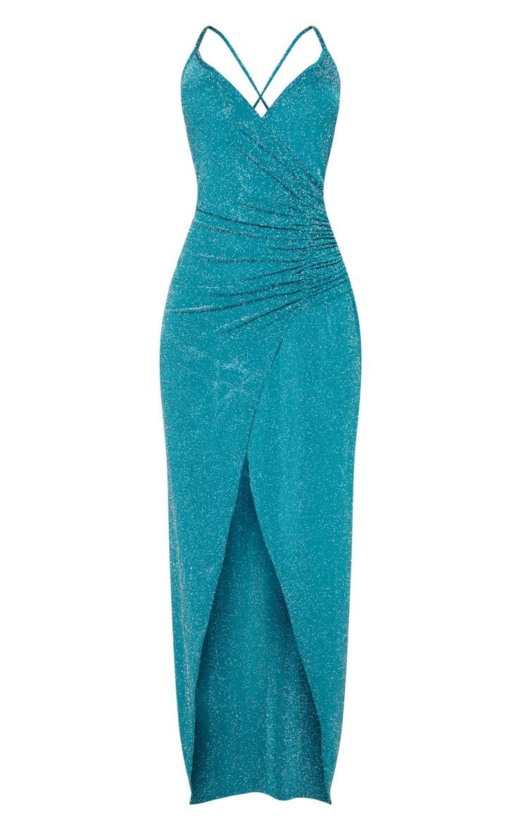 Emerald Green Plunge Ruched Split Leg Maxi Dress 3