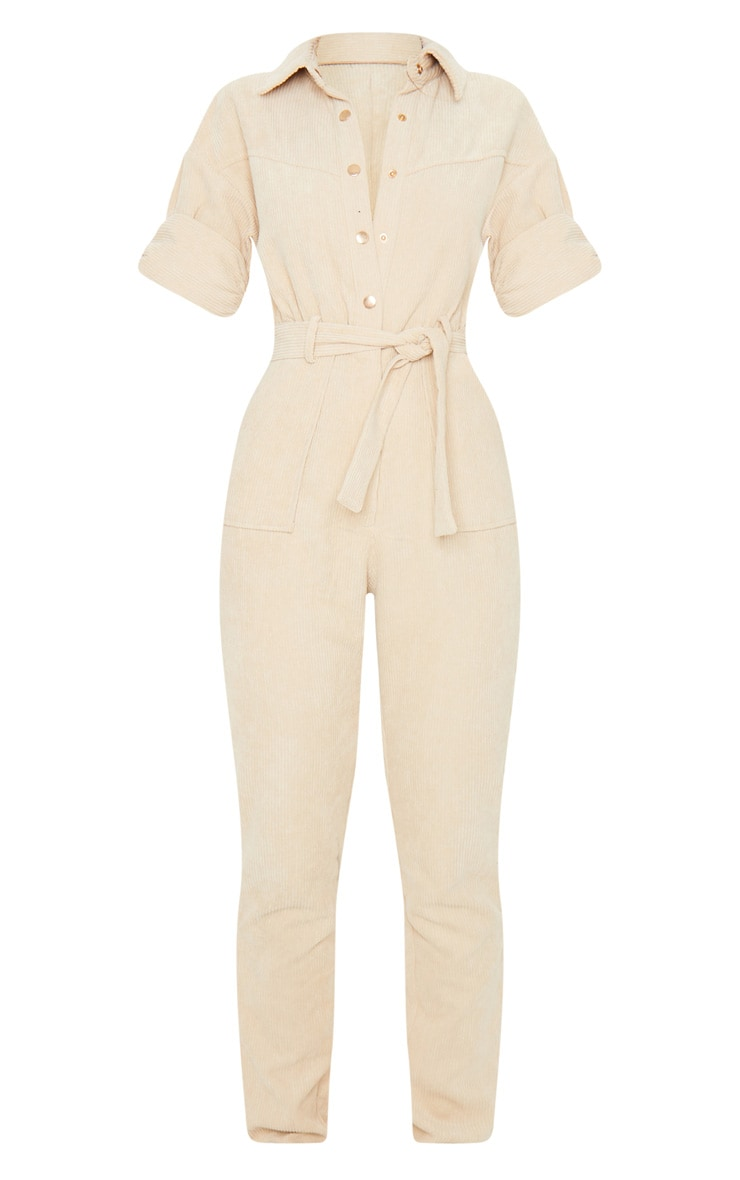 Stone Button Front Short Sleeve Cord Jumpsuit 5