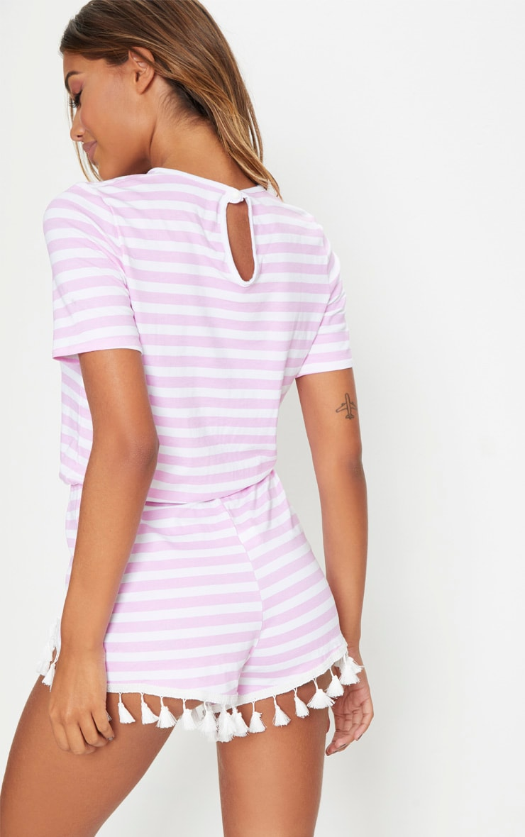 Pink Striped Tassel Trim Romper 2