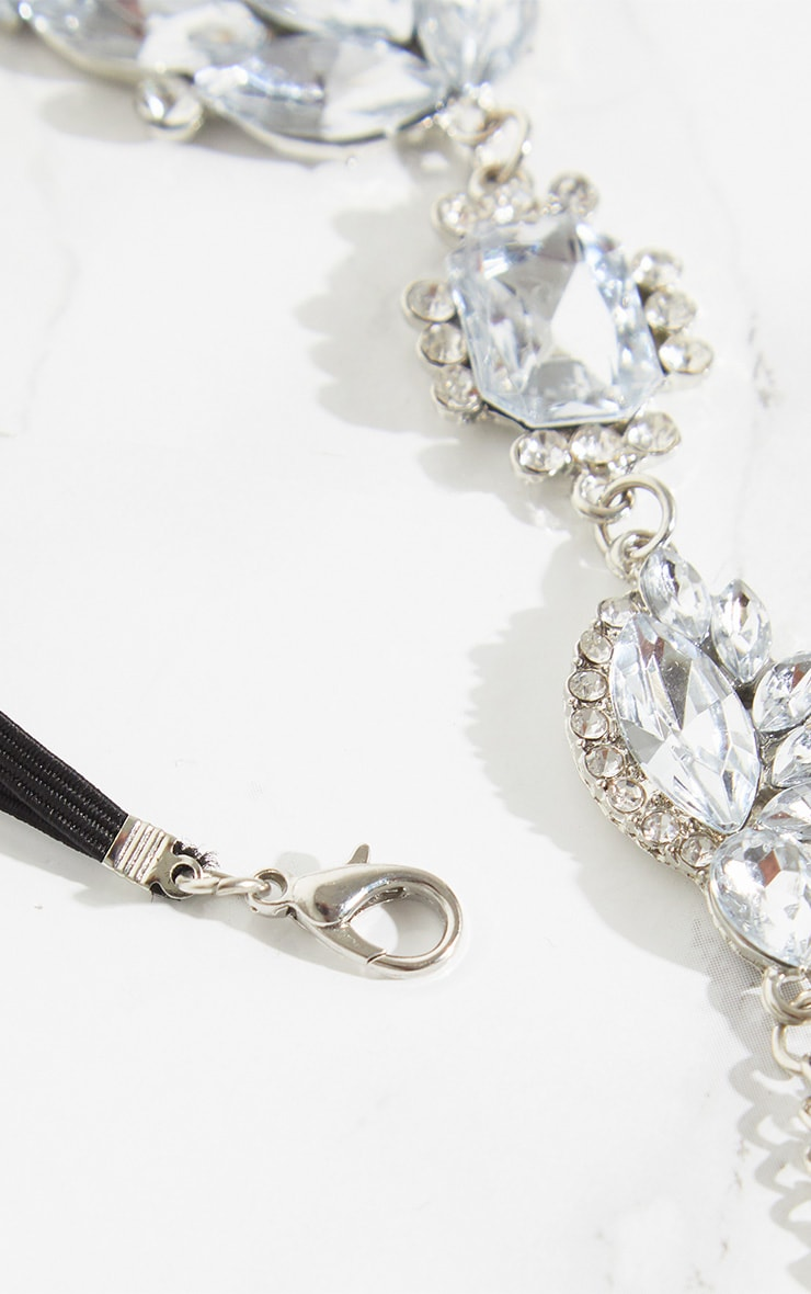 Silver Large Diamante Hand Chain 4