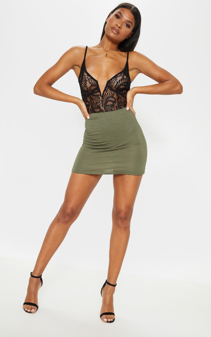 Basic Khaki Jersey Mini Skirt 5